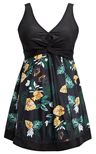 Ecupper Womens One Piece Shaping Body Floral Swimwear Plus Size Swimdress with Boyshort Black Flower 4XL