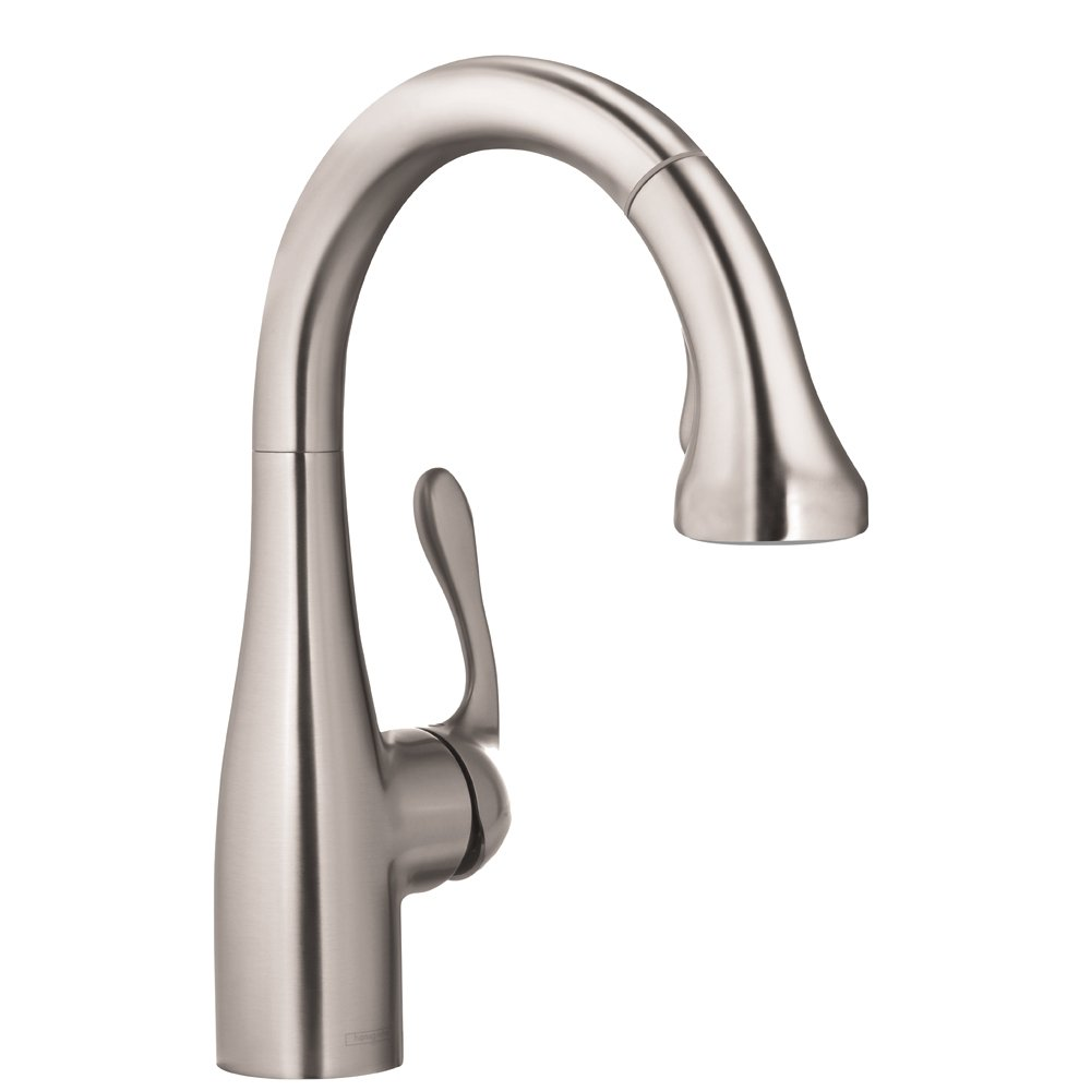 hansgrohe Allegro E Gourmet Premium 1-Handle 14-inch Tall Stainless Steel Kitchen Faucet with Pull Down Sprayer Magnetic Docking Spray Head in Steel Optic, 04297800