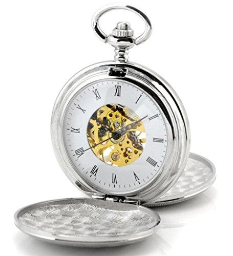 Unendlich U Retro Handaufzug Mechanische Taschenuhr Doppel Sprungdeckel Hohle Skelett Kettenuhr (kann graviert sein)Silber