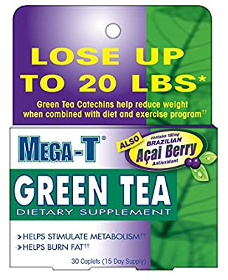 Mega-T Green Tea Dietary Supplement with Acai Berry, 30 Caplets (Pack of 6)