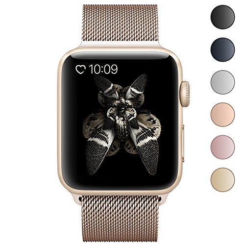 BRG for Apple Watch Band 38mm 42mm, Stainless Steel Mesh Milanese Loop with Adjustable Magnetic Closure Replacement iWatch Band for Apple Watch Series 3 2 1
