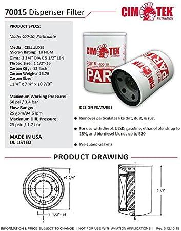 Cim-Tek 70015-12 400-10 Spin-On Filter for Particulate 12-Pack
