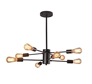 Dellemade XD00859 Sputnik Chandelier 8-Light Vintage Pendant Light for Dining Room,Living Room,Kitchen,Office,Café,Restaurant,Black