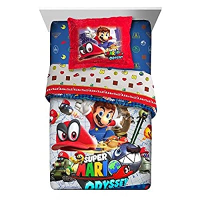 Super Mario Nintendo Odyssey 5pc Twin Comforter and Sheet Set Bedding Collection, new 2020: Home & Kitchen