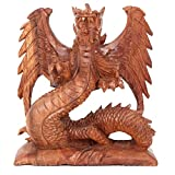 JustPaperRoses Wood Dragon Hand Carved Large