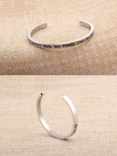 FEELMEM Stepdaughter Bangle DNA Doesn't Make You Family Love Does Cuff Bangle Bracelet,Family Jewelry Gift for Adopted Child Step Child Stepdaughter (DNA Doesn't.-Silver) by FEELMEM (Image #3)