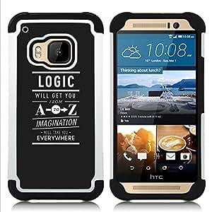 """HTC One M9 /M9s / One Hima - 3 en 1 impreso colorido de Altas Prestaciones PC Funda chaqueta Negro cubierta gel silicona suave (Lógica A a la Z Imaginación Libertad texto"""")"""
