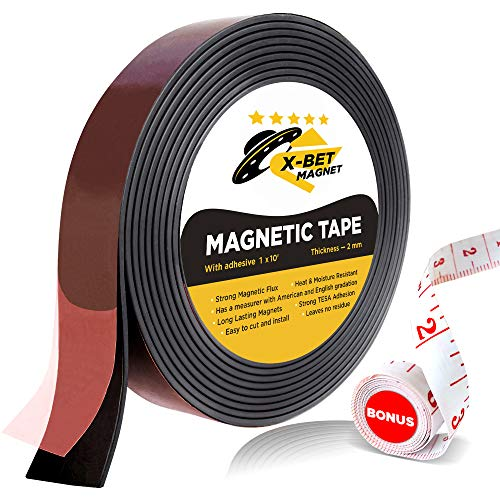 Adhesive Magnet Tape - Flexible Magnetic Tape - 1 Inch x 10 Feet Magnetic Strip with Strong Self Adhesive - Ideal Magnetic Roll for Craft and DIY Projects - Sticky Magnets for Fridge and Dry Erase Board