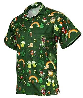 Funny Guy Mugs Men's Irish St. Patrick's Day Hawaiian Print Button Down Short Sleeve Shirt