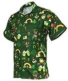 Funny Guy Mugs Men's Irish St. Patrick's Day Hawaiian Print Button Down Short Sleeve Shirt, Large