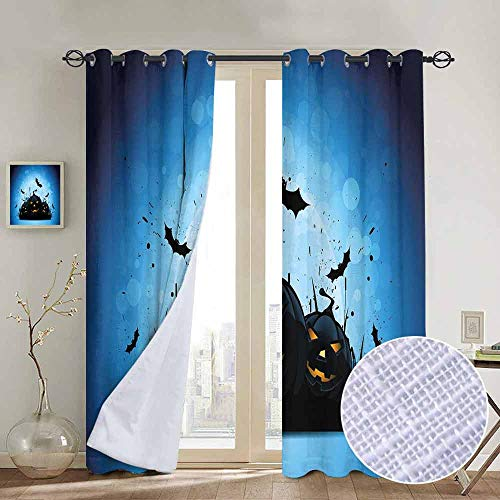 NUOMANAN Window Curtain Fabric Halloween,Scary Pumpkins in Grass with Bats Full Moon Traditional Composition,Black Yellow Sky Blue,Rod Pocket Curtain Panels for Bedroom & Living Room -