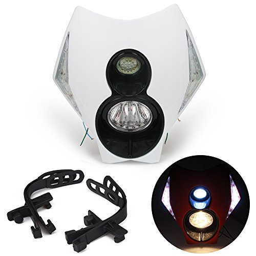 JFG RACING S2 12V 35W Universal Motorcycle Headlight Dual Lights Head Lamp Led Lights For Dirt Pit Bike ATV - White