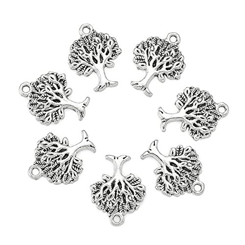 (Craftdady 20pcs Tree of Life Pattern Tibetan Style Antique Silver Alloy Charms Pendants Necklace Bracelet Jewelry Making Findings Lead Free & Cadmium Free, 22x17x2mm 0.90.70.08in)
