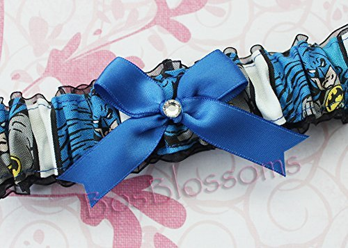 Customizable handmade - Batman fabric on black sheer organza armband bridal wedding prom garter