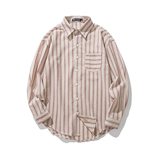 Einfache männer Hemd, Schulter gestreift langärmliges Hemd, modische Jugend lässig Hemd,Beige,XL,