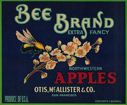 Bee Apple - Vintage Crate Label Gallery Print, Wall Decor Travel Poster)
