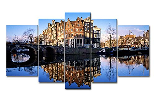 So Crazy Art Blue 5 Piece Wall Art Painting Amsterdam Reflection Lake Pictures Prints On Canvas City The Picture Decor Oil For Home Modern Decoration Print For ()