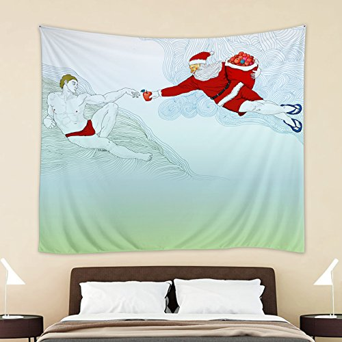 HOKWAY Christmas Eve Tree Santa Claus Elk Penguin Polar Bear Snow Gift Tapestry Wall Hanging Art Decor Polyester Fabric Decorative Bedspread Picnic blanket Beach throw … (60'' x 60'', Christmas Eve) (Grateful Christmas Tree Dead)