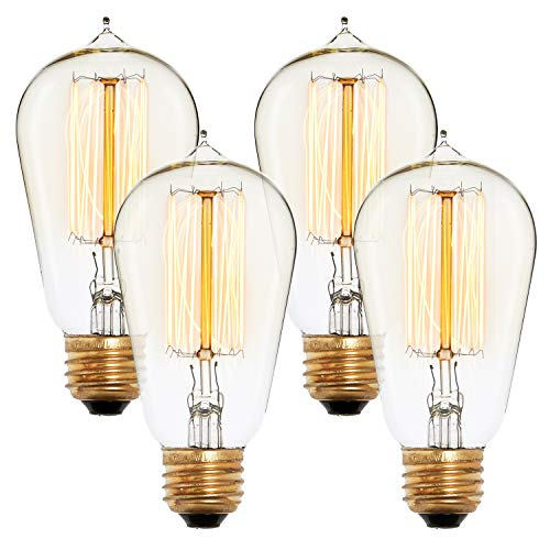 (Edison Style ST18 Vintage Bulbs, Fully Dimmable, Warm White, 40W (E26), Squirrel Cage Filament, Brooklyn Bulb Co. Bushwick Design - Set of 4)