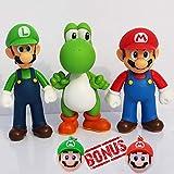 PantShop Super Mario Toys – Mario & Luigi Figurines – Yoshi & Mario Bros Action Figures – Set of 3 Mario PVC Toy Figures for Kids & Adults – Premium Cake Toppers + 2 Keychains – Great Geek Present