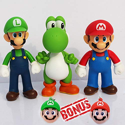 PantShop Super Mario Toys - Mario & Luigi Figurines - Yoshi & Mario Bros Action Figures - Set of 3 Mario PVC Toy Figures for Kids & Adults - Premium Cake Toppers + 2 Keychains - Great Geek Present