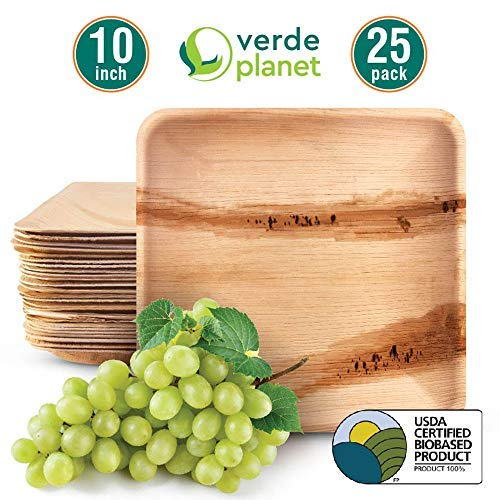 Verde Planet - 10 inch square Palm Leaf Plates - Biodegradable, Ecofriendly, Disposable, Sturdy, Elegant, Premium Quality Plates, USDA Certified - 25 Count