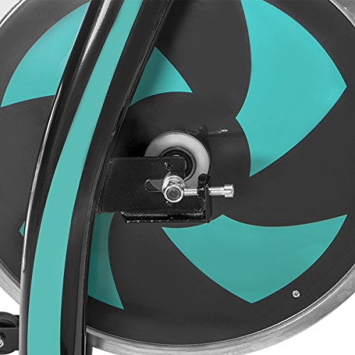 XtremepowerUS Indoor Cycle Trainer Fitness Bicycle Stationary (Black and Aqua)