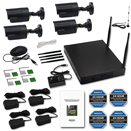 【2019 Update】 OOSSXX HD 1080P 8-Channel Wireless Security Camera System,4 pcs 720P 1.0 Megapixel Wireless Weatherproof Bullet IP Cameras,Plug Play,70FT Night Vision,P2P,App, No Hard Drive by OOSSXX (Image #1)