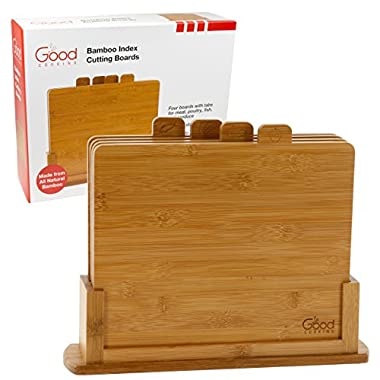 Bamboo Cutting Boards- Four All Natural Index Chopping Board Set with Non-Slip Base by Good Cooking