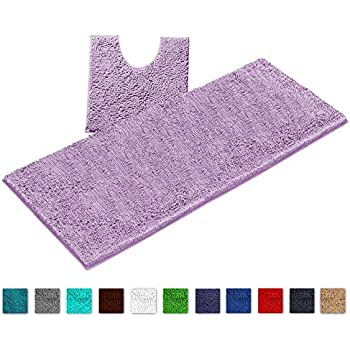 Amazon Com Luxurux Bathroom Rugs Luxury Chenille 2 Piece Bath Mat Set Soft Plush Anti Slip