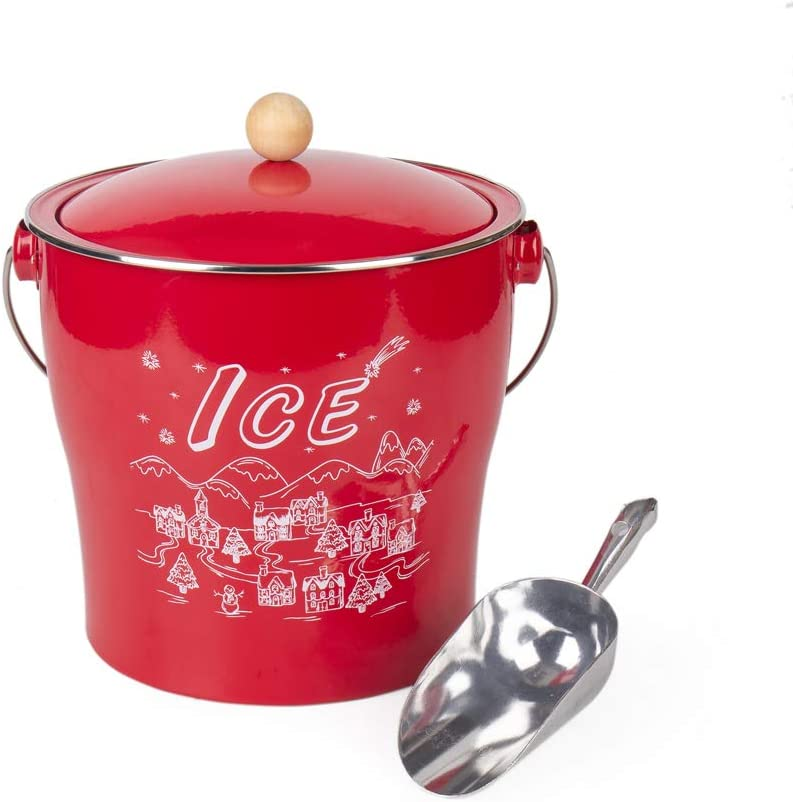 T686B Vintage Red 4L Metal Double Walled Ice Bucket/Home Kitchen Gifts With Lid/wooden Handle And Scoop