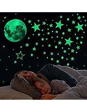 Glow in The Dark Stars and Moon Wall Stickers,433 Stks Lichtgevende Dots Sterren en Volle Maan Muurstickers Decor voor meisjes en jongens decor muurstickers