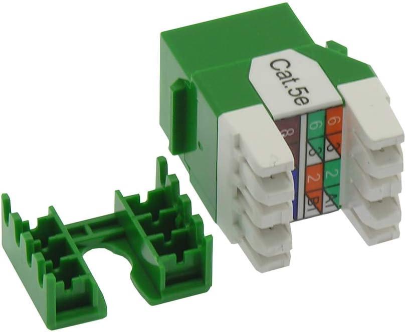 50-Pack, Green Beszin Cat.5E RJ45 110 Type 180/° Keystone Jack