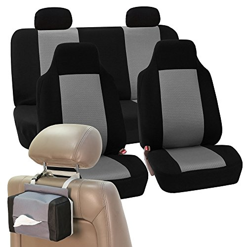 FH GROUP FH-FB102114 Full Set Classic Cloth Car Seat Covers with FH GROUP FH1133 E-Z Travel Car Tissue Dispenser Case Gray / Black- Fit Most Car, Truck, Suv, or - Vantage Tissue