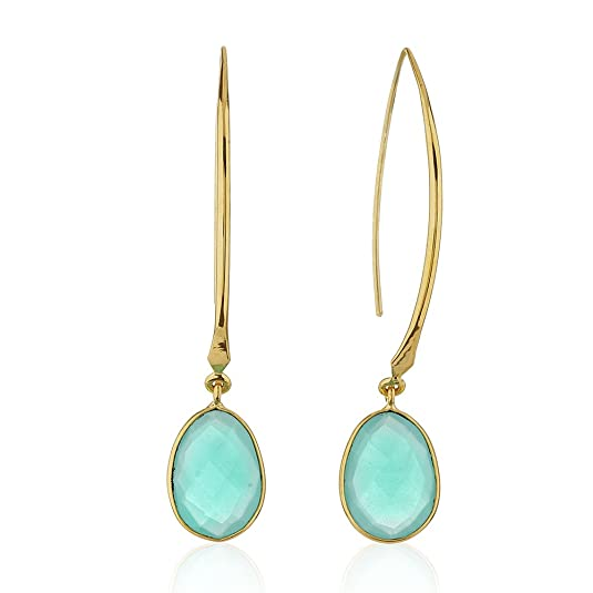 18K Gold-Plated Rims Long Drop Blue Synthetic Chalcedony Gemstones Dangle Earrings