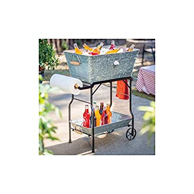Galvanized Steel Party Beverage Bucket Tub 9.5 Gallon with Collapsible Wrought Iron Rolling Cart & Tray (Gray)