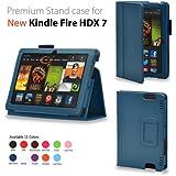 "Elsse For Kindle Fire HDX 7 - Premium Folio Case for All New Kindle Fire HDX 7"" Tablet 2013 Edition (Kindle Fire HDX 7"", Dark Blue)"