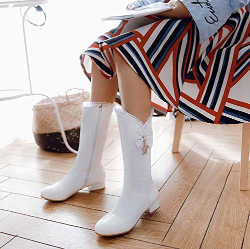 2018 Winter College Bow White New Women Style Heel Boots Autumn QINGMM Boots Low Casual tXwZxq6ag