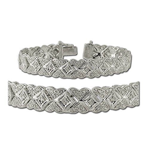 Diamond Butterfly Bracelet with Milgrain Work (SI1-SI2-Clarity, G-H-Color) 2.00 ct tw in 14K White Gold