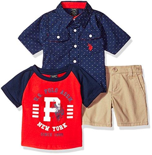 (U.S. Polo Assn. Baby Boys Short Sleeve, T-Shirt and Pant Set, New York Player Multi Plaid, 18M)
