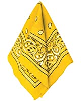 "Multi-Purpose Bandana Western Cowboy Costume Party Headwear, Yellow, Fabric, 20"" x 20""."