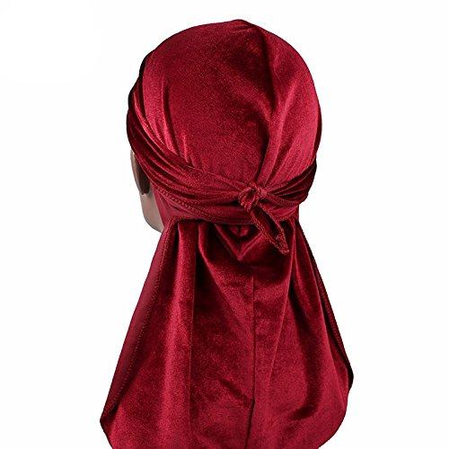 Men's Velvet Durags Bandana Turban Hat Wigs Doo Durag Biker Headwear Headband Pirate Hair Accessories (Burgundy)