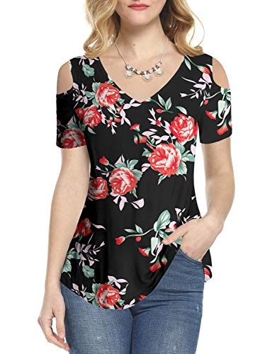 Amoretu Women Short Sleeve Tops V Neck Floral Cutout Blouse for Summer(Black,S)