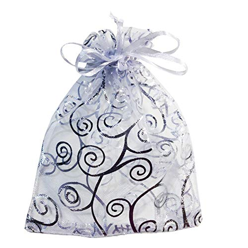 Happy Avenue 50 Organza Gift Bags (White with Silver Details)