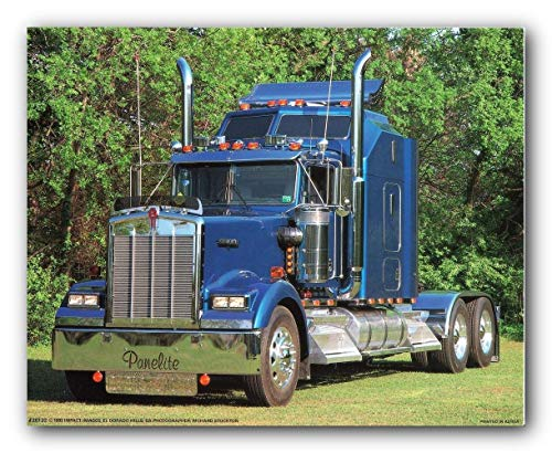 Construction Truck Wall Decor Picture 1993 Blue Kenworth Semi Big Rig Diesel Art Print Poster (16x20)