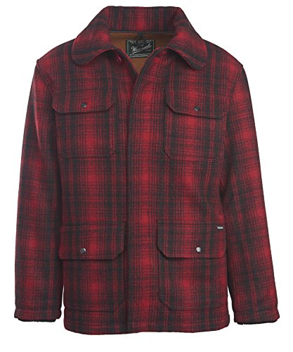 Nylon Vintage Coat - Woolrich Men's Classic Hunt Coat, Red Black Plaid, X-Large
