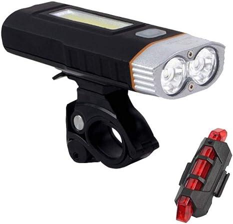 GOPG Set Luces de Bicicleta USB Recargable, LED montaña Luz Bicicleta Super Brillante 300 Lumen, Bicicleta di Faro y luz Trasera Conjunto-Un+B: Amazon.es: Deportes y aire libre