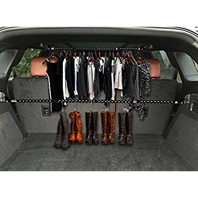 Zento Deals 2 Pack of Heavy Duty Expandable Clothes Bars Car Hangers Rod- Convenient Classic Black Combines with Strong Metal and Rubber Grips and Rings: Automotive