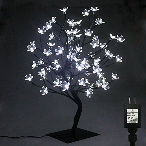 PMS 17inch 72 LEDs Cherry Blossom Desk Top Bonsai Tree Light with Low Voltage Transformer, UL Listed, Ideal for Christmas, party, wedding, ceremony, celebration Decoration (White) (Christmas Trees Desktop)
