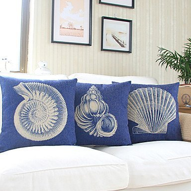 Set of 3 Nautical Sea Side Theme Pillow Covers